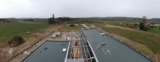 Photo aérienne du cœur d'écopôle en construction