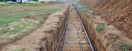 Photo du chantier des réseaux de l'Écopôle - mai 2013