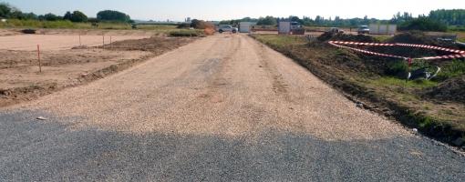 Photo du chantier de voirie de l'Écopôle Périgord-Aquitaine - Septembre 2013